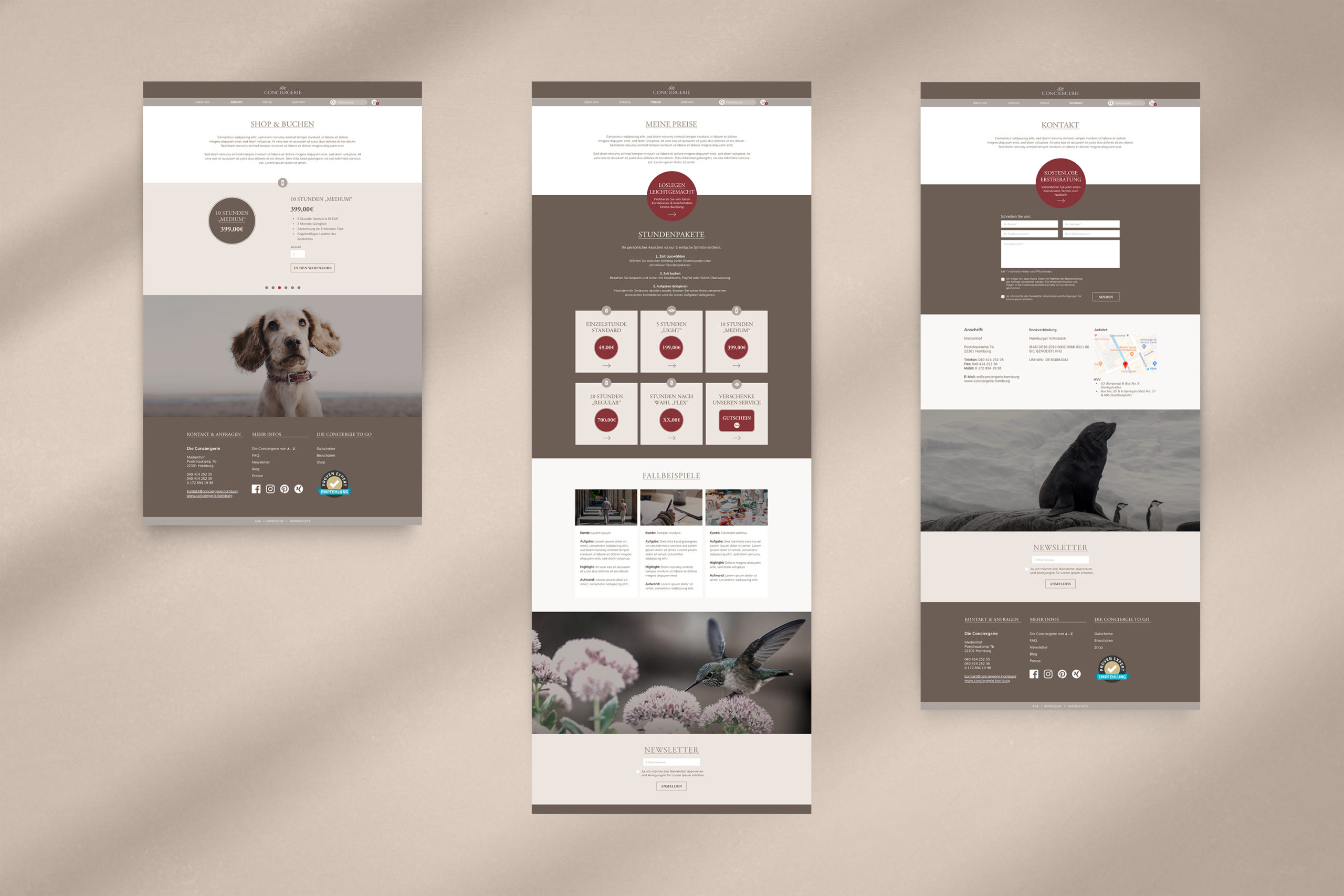 Die Conciergerie Webdesign Screendesign